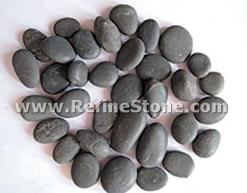 Black Unpolished river pebble