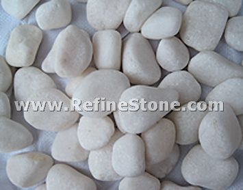 Snow white unpolished river pebble