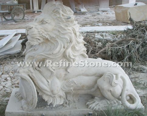 Marble animal carvings,white marble statue,stone lion statue,C4373