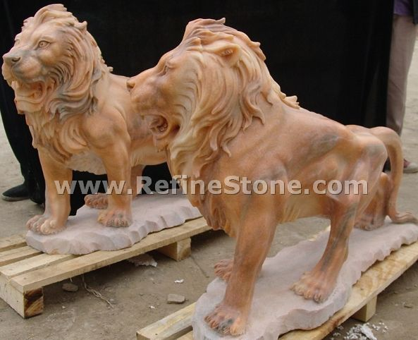 Marble animal carvings,Yellow Marble Standing Lion Statue,C4496