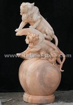 Marble animal carvings,Yellow marble double lion statue,C4509
