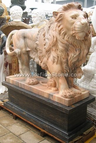 Marble animal carvings,Garden red lion with baby sculpture,C4512