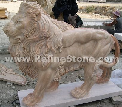 Marble animal carvings,Outdoor carving lion sculpture,C4518