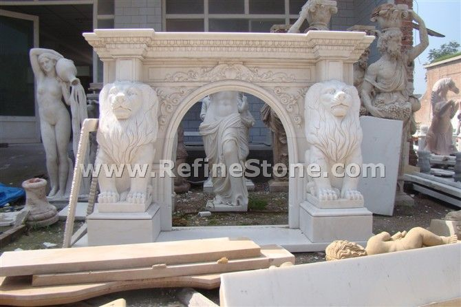 Fireplace with lion carved