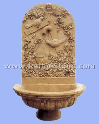 Yellow marble water fountain