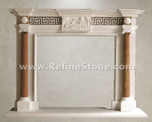 Fireplace with relief