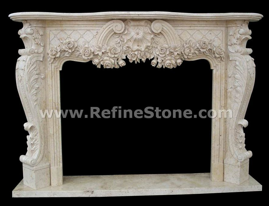 Fireplace with flower carving