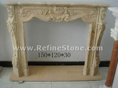 Beige fireplace stone