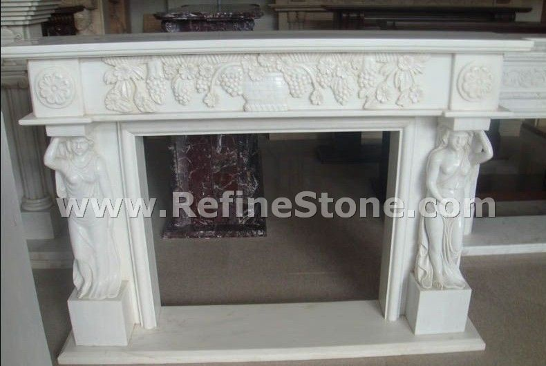 White polished fireplace