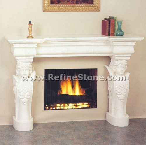 White marble fireplace angel statue