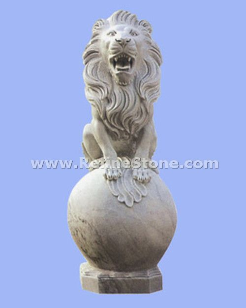 Granite Animal Carvings,Lion carving with a ball,C4674