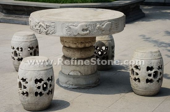 garden stone bench and table