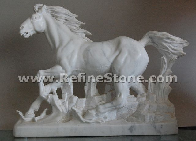 Marble animal carvings,white horse marble statue,C4886