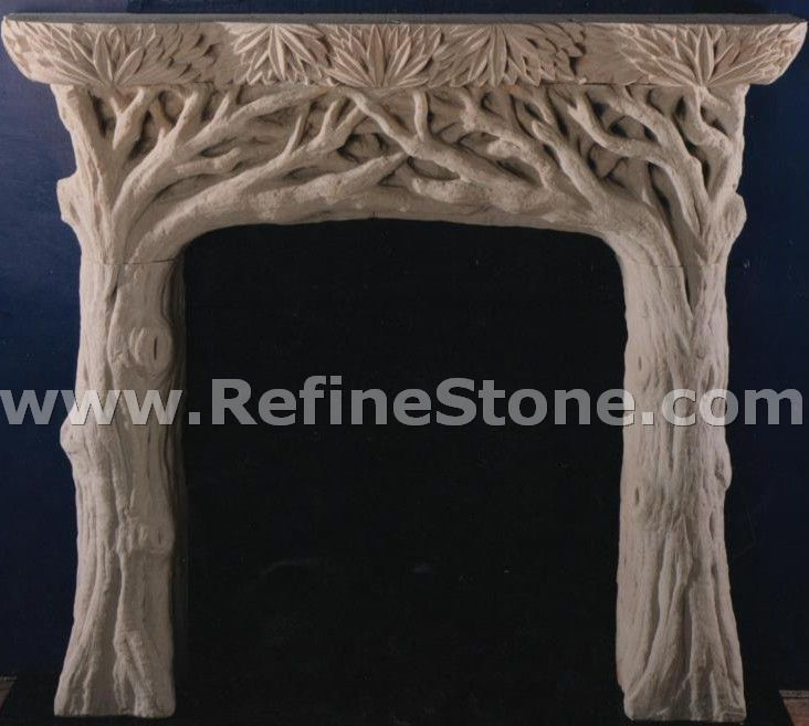 Carved fireplace and fireplace surrounds,Tree shaped sandstone fireplace,C4918