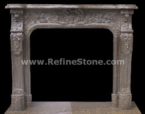 Carved fireplace and fireplace surrounds,Brown marble polished fireplace,C4925