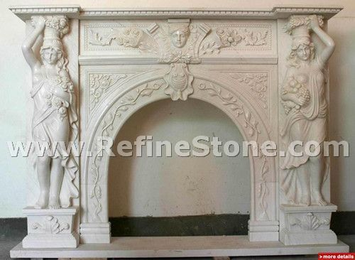 Carved fireplace and fireplace surrounds,Indoor white marble decorated fireplace,C4937
