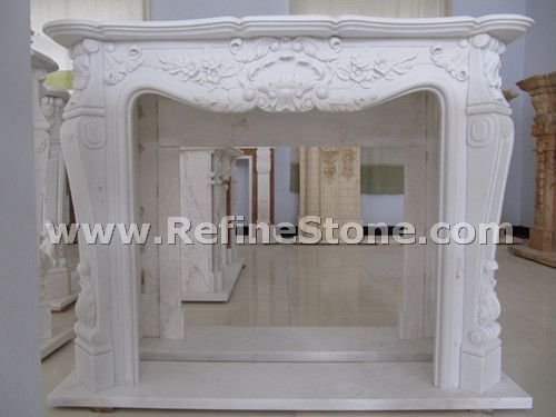 Carved fireplace and fireplace surrounds,Premium pure white marble fireplace,C4938