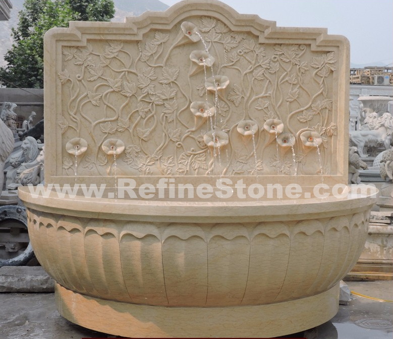 beige marble wall fountain