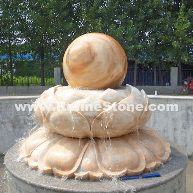 flower carving stone ball fountain