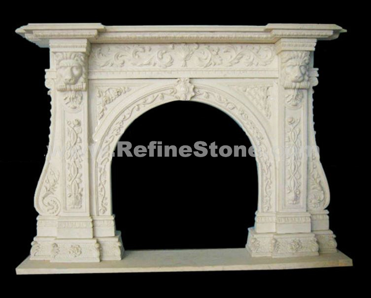Carved marble lion sculptured fireplace
