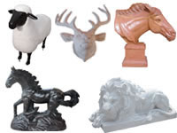 Marble animal carvings